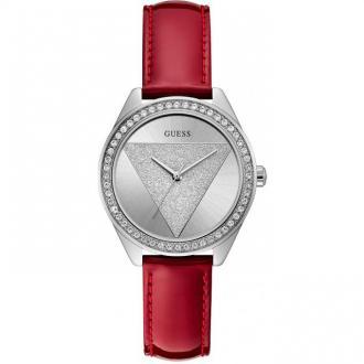 Montre Femme Guess Tri Glitz cuir verni rouge W0884L1
