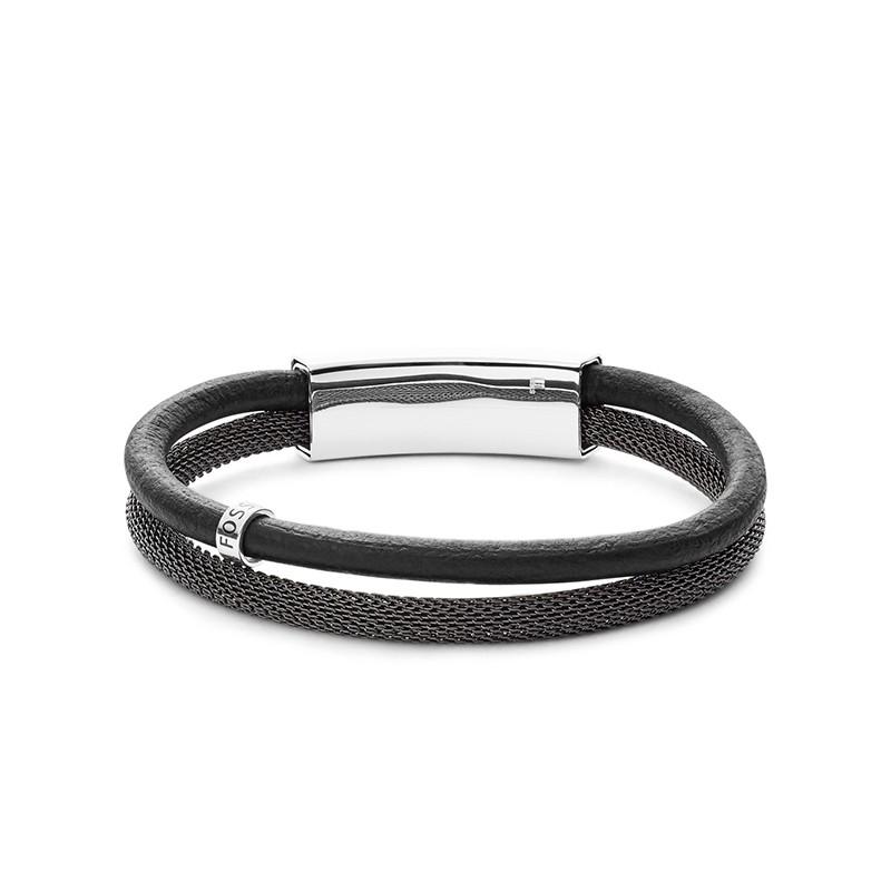 Bracelet double Homme Fossil vintage casual cuir gris JF02829040
