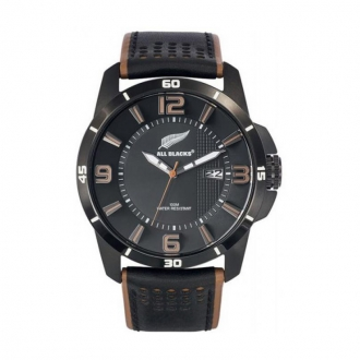 Montre Homme All Blacks cuir noir et marron 680264