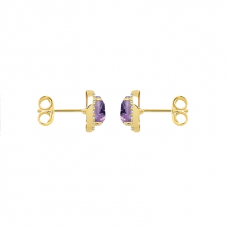 Boucles d'oreilles Carador Améthyste et Or jaune