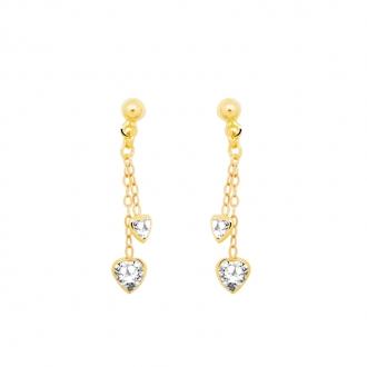 Boucles d'oreilles Carador Or jaune 375/000e – coeur – pendantes