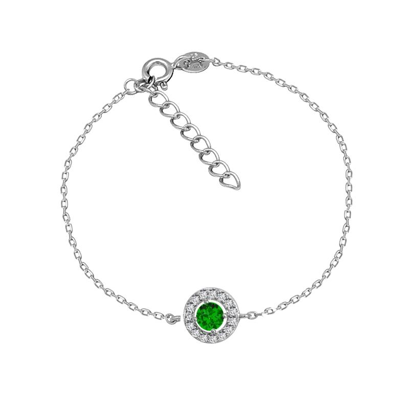 Bracelet Carador Etincelle Argent 925/000e, oxydes de zirconium et verre vert