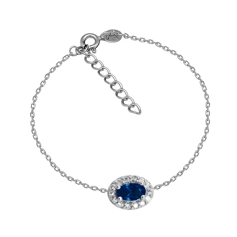 Bracelet Femme Carador style Joaillerie argent 925/000, oxydes de zirconium et verre bleu
