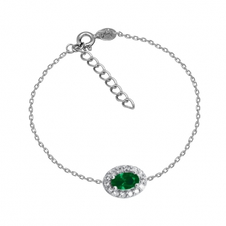 Bracelet Femme Carador style Joaillerie argent 925/000, oxydes de zirconium et verre vert