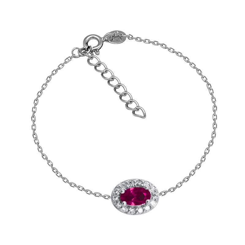 Bracelet Femme Carador style Joaillerie argent 925/000, oxydes de zirconium et verre rouge