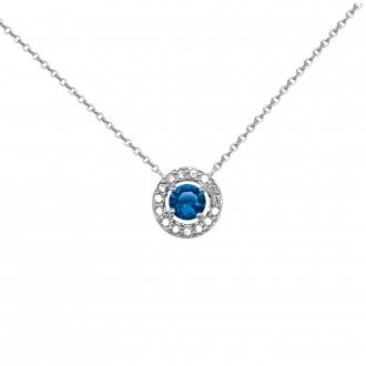 Collier Femme Carador collection éternelle en argent 925/000, zircons et verre bleu