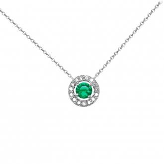 Collier Femme Carador collection éternelle en argent 925/000, zircons et verre vert