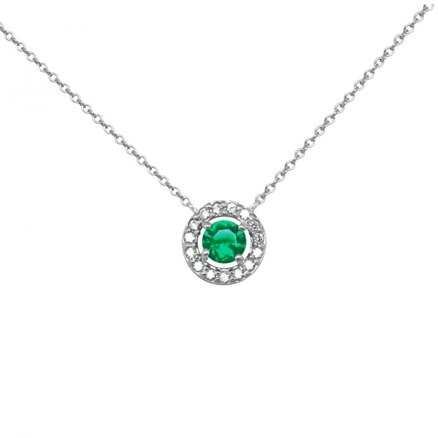 Carador Collection Femme Éternelle En Verre 925000Zircons Vert Et Argent Collier q5A4L3jR