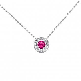 Collier Femme Carador collection éternelle en argent 925/000, zircons et verre rouge