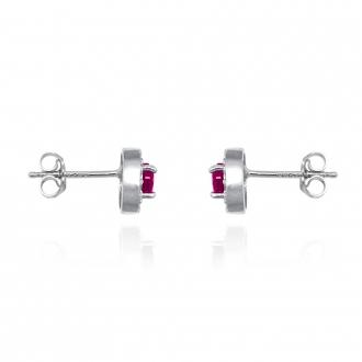 Boucles d'oreilles Femme Carador collection éternelle en argent 925/000, zircons et verre rouge