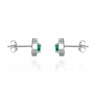 Boucles d'oreilles Femme Carador collection éternelle en argent 925/000, zircons et verre vert