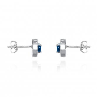 Boucles d'oreilles Femme Carador collection éternelle en argent 925/000, zircons et verre bleu