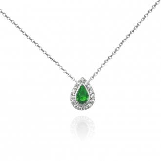 Collier Femme Carador larme étincelante en argent 925/000, zircons et verre vert