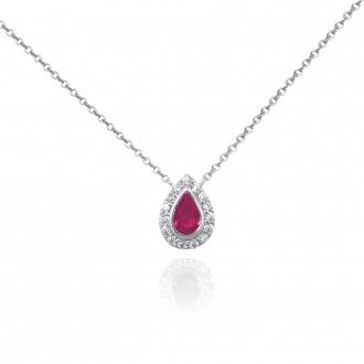 Collier Femme Carador larme étincelante en argent 925/000, zircons et verre rouge