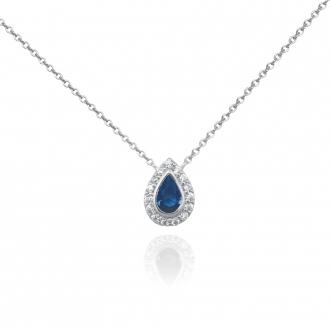 Collier Femme Carador larme étincelante en argent 925/000, zircons et verre bleu