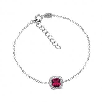 Bracelet Femme Carador baroque argent 925/000, oxydes de zirconium et verre rouge