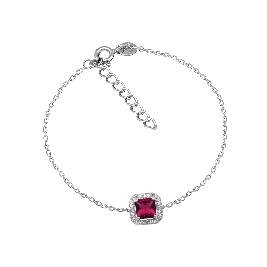 Bracelet Femme Carador baroque argent 925 000, oxydes de zirconium et verre  rouge 6d1680fd105