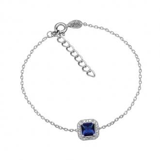 Bracelet Femme Carador baroque argent 925/000, oxydes de zirconium et verre bleu