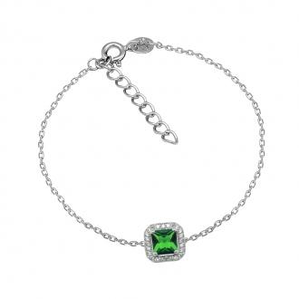 Bracelet Femme Carador baroque argent 925/000, oxydes de zirconium et verre vert