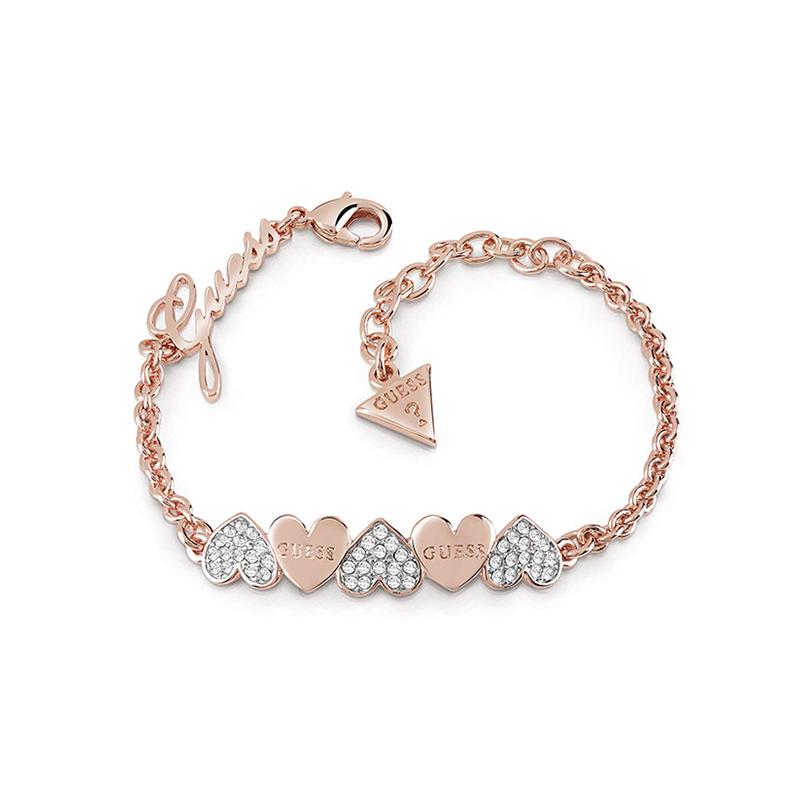 bracelet femme guess heart bouquet dor rose ubb85102 s pour femme. Black Bedroom Furniture Sets. Home Design Ideas