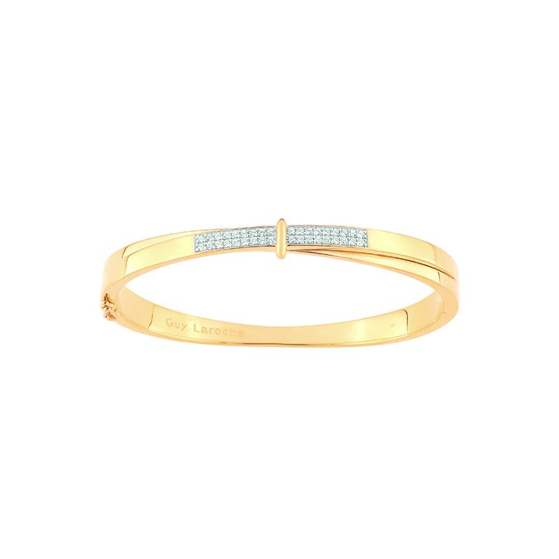 joli design prix limité livraison rapide Bracelet jonc femme Guy Laroche plaqué or et oxydes de zirconium PTV757BLZ