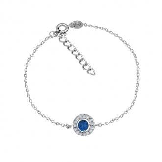 Bracelet Carador Etincelle Argent 925/000e, oxydes de zirconium et verre bleue