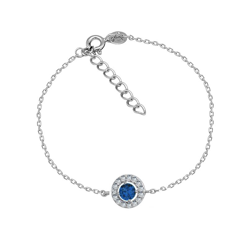 Bracelet Carador Etincelle Argent 925/000e, oxydes de zirconium et verre bleu