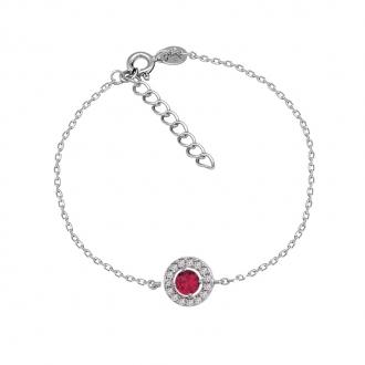 Bracelet Carador Etincelle Argent 925/000e, oxydes de zirconium et verre rouge