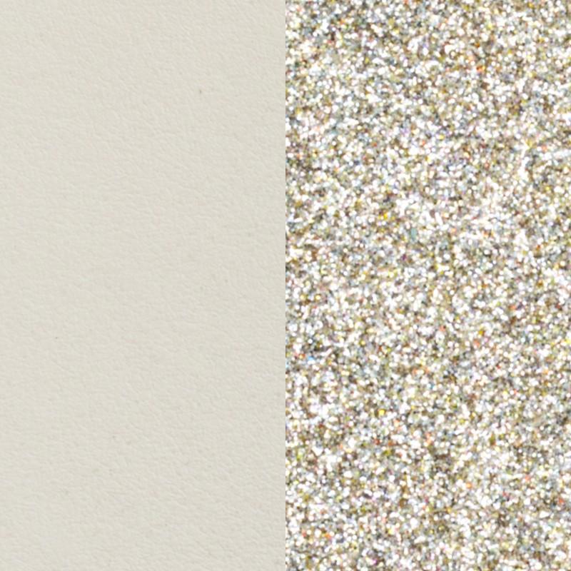 Cuir pour bracelet Les Georgettes largeur 40 mm Crème/Paillettes dorées 702145799C4000