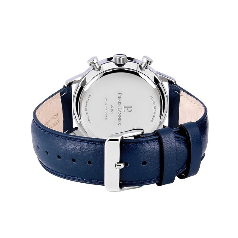 Montre Homme Pierre Lannier Chrono cuir bleu 224G166