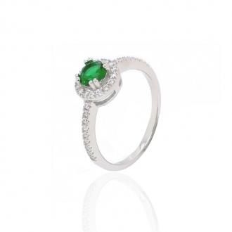 Bague femme Carador baroque argent 925/000 et pierre de verre verte RRS00249GR-54