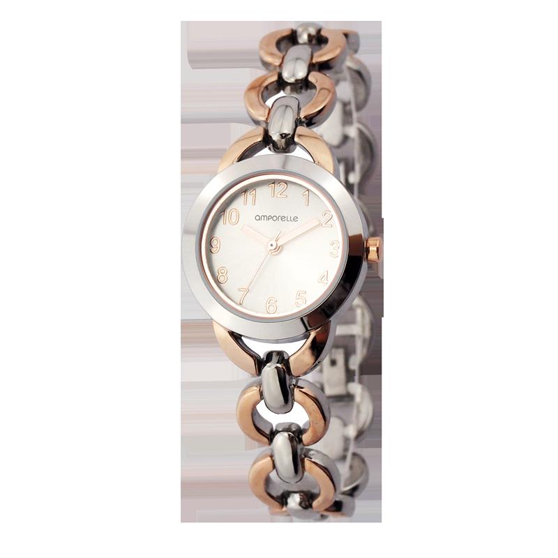Montre Femme Amporelle métal argentée et dorée rose P100516-C2