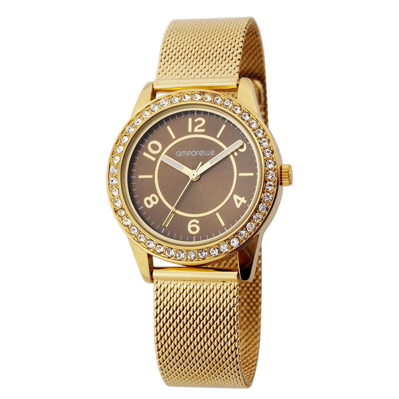 Montre Femme Amporelle dorée maille milanaise P100551-C2
