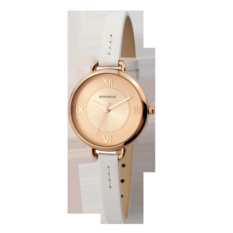 Montre Femme Amporelle cuir blanc 8 mm P100553-B3