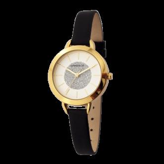 Montre Femme Amporelle cuir noire et dorée P100576-F3