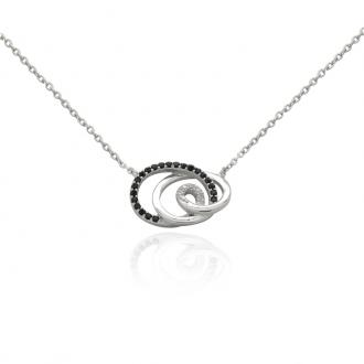 Collier femme Carador Spirale argent 925/000, oxydes de zirconium bicolores