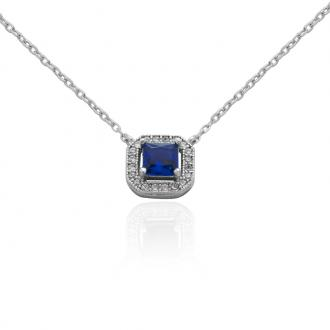 Collier Carador Argent 925/000 baroque verre bleu