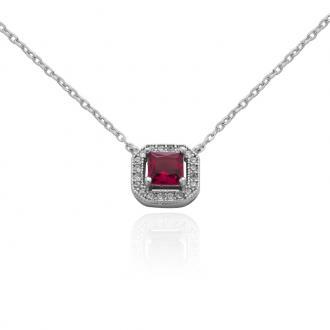 Collier Carador Argent 925/000 baroque verre rouge