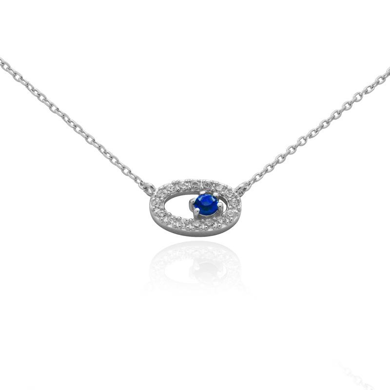 Collier Carador Argent 925/000e et verre bleu RNS00254BL