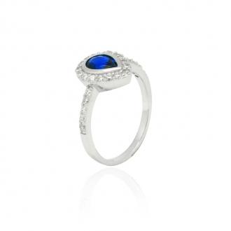 Bague Femme Carador goutte baroque argent 925/000, zircons et verre bleu RRS00281BL-54