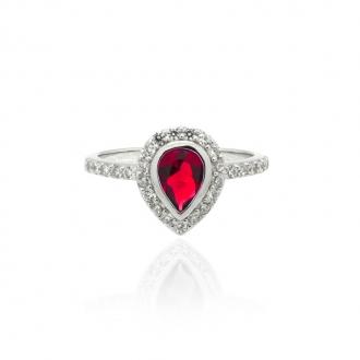 Bague Femme Carador goutte baroque argent 925/000, zircons et verre rouge RRS00281RU-54