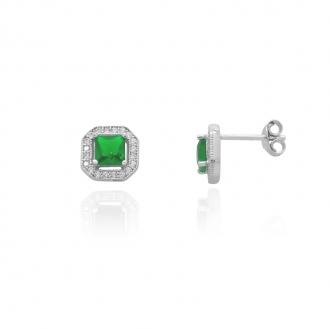 Boucles d'oreilles Femme Carador carré baroque argent 925/000, zircons et verre vert RES00552GR