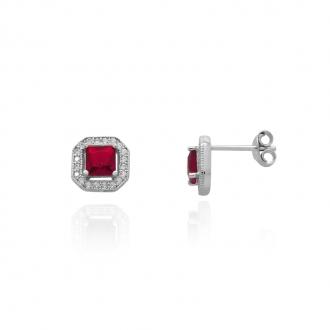 Boucles d'oreilles Femme Carador carré baroque argent 925/000, zircons et verre rouge RES00552RU