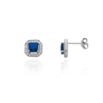 Boucles d'oreilles Femme Carador carré baroque argent 925/000, zircons et verre bleu RES00552BL