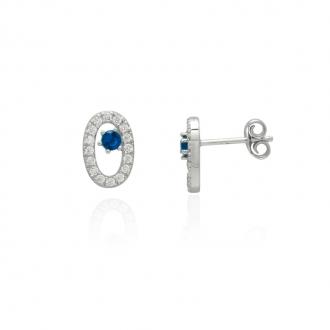 Boucles d'oreilles Femme Carador elipse argent 925/000, zircons et verre bleu RES00553BL