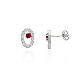 Boucles d'oreilles Femme Carador elipse argent 925/000, zircons et verre rouge RES00553RU