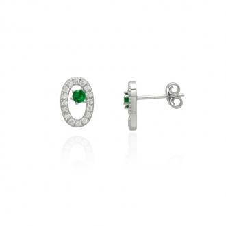 Boucles d'oreilles Femme Carador elipse argent 925/000, zircons et verre vert RES00553GR