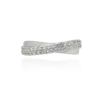 Bague Femme Carador anneaux croisés argent 925/000 et oxydes de zirconium RRS00226