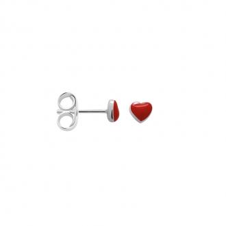 Boucles d'oreilles Femme Carador petit coeur laque rouge argent 925/000 M6095DSM
