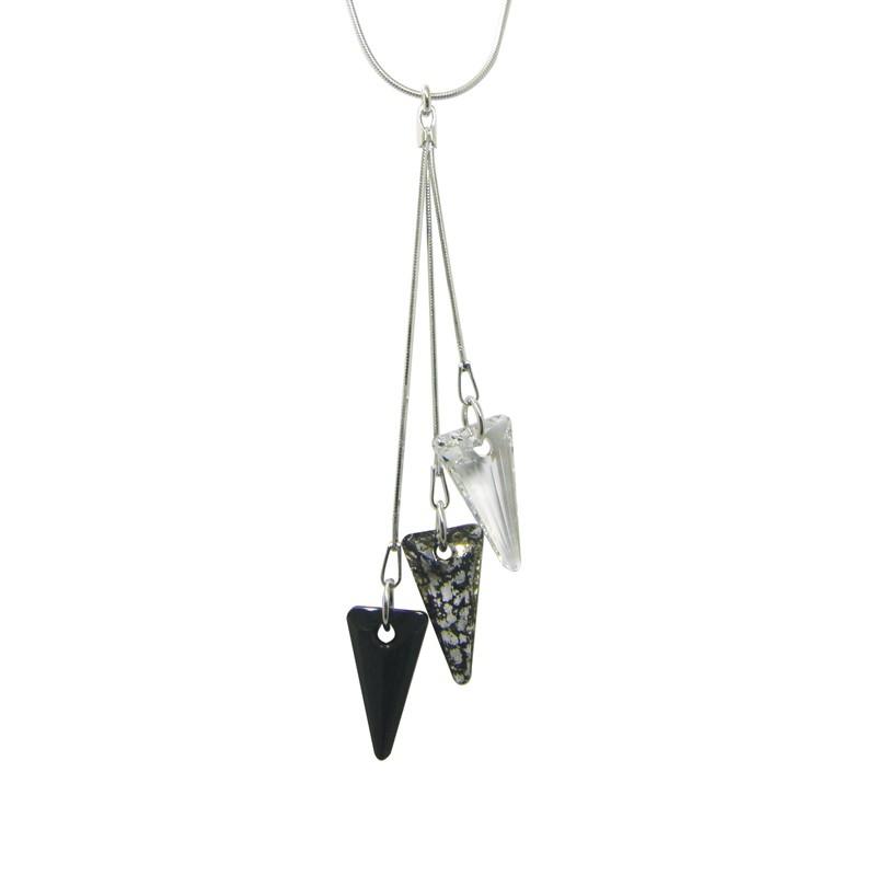 Collier Indicolite Spike cristal noir et blanc CO-3SPIK-BLPA